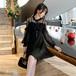 シアーワンピース 大きいサイズ シースルー ワンピース フリル 上品 パーティ 2次会 お呼ばれ シースルーワンピース 袖コン リボン ブラック 黒