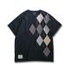 Patchwork T-shirt / Argyle –Black
