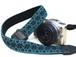 カメラストラップ 3㎝巾 一眼レフ&ミラーレスカメラ用 こぎん刺し 麻の葉とはなこ、まめこ 青緑x黒