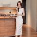 【dress】高級感 エレガントオシャレ質感のいい シンプルデートワンピース3色 M-0486