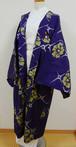 青紫色に椿 銘仙アンティーク長羽織 単衣