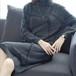 【送料無料】ハイネック ニットワンピース 柄ワンピ 長袖 ひざ丈 体型カバー ゆったり 秋冬 グレー(A548)
