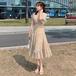 【dress】人気アイテム ! スウィート着痩せ 質感のいい 花柄ワンピースオシャレ