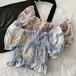 レディース オシャレ 可愛い スクエアネック ふんわり袖 トレンド ブラウス・トップス