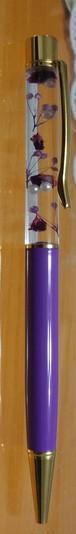 ハーバリウムボールペン(固まるオイル使用)パープル
