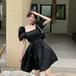 【dress】おしゃれ!ファッション着瘦せスクエアネックデートワンピース2色
