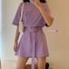 Tシャツ ワンピース ベルト付き パープル 韓国ファッション レディース Tシャツワンピース 紫 無地 ラウンドネック オーバーサイズ 半袖 Aライン シンプル 大人可愛い ガーリー DTC-619791273575_pu