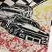 90's ビンテージ 総柄 レーシングTシャツ 表記Lサイズ USA製 白 オーバープリント