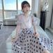 【set】スウィート一目惚れ人気デザインパフスリーブトップス+ドット柄スカート