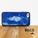 利尻岳 利尻山 強化ガラス iphone Galaxy スマホケース 登山 山 ブルー 青 ネイビー