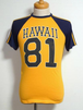 1970's HAWAII 81 ビッグナンバリング&3ライン ラグランTシャツ 紺×黄 実寸(S)