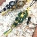 新色追加!天然石のマクラメ編みストラップ(イヤホンジャック付)/こいのぼり(グリーン系×ゴールデンタイガーアイ)