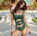 【送料無料】モスグリーン ブラック リボンモチーフ ワンピースビキニ 水着 ビキニ タンキニ  韓国 インポート 緑