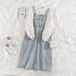 可愛い オシャレ シンプル カジュアル ブラウス 吊りスカート 着痩せ 2点セット セットアップ