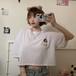 【★送料無料★】Tシャツ トップス ショート丈 五分袖 くまちゃん ホワイト 韓国ファッション レディース ベアー ラウンドネック クルーネック 半袖 ガーリー カジュアル DTC-621732610073_wt
