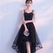 フィッシュテール ドレス リボン 編み上げ シンプル 膝上丈 パーティー 結婚式 同窓会 二次会 お呼ばれ(F016)