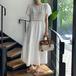 【dress】今季も大流行 定番ラウンドネック透かし彫り2色デートワンピース