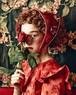 バラ色の帽子/お花の三角巾