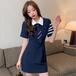 【dress】売り切れ必至キャンパスチュニック 折り襟2色デートワンピース大好評