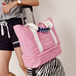 ピンク 靴収納可能 大容量 トート2段式 バッグ 旅行 ジムに最適