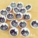 くるみボタン/はんこ 黒ネコ 12mm