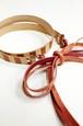 グラースオリジナルリボン結びレザーベルト帯〆 茶×赤