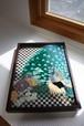 【和モダン】孔雀  ガラス絵(額付き) 還暦祝い・記念日ギフト・インテリア・新居祝い・新築祝い