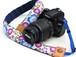 カメラストラップ 4㎝巾 一眼レフ用 片面 紅型デザイン さくら 青