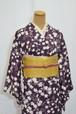上品な濃紫に白抜きもみじ☆七宝の地紋様がハイグレード