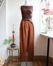 brown linen high waist pants