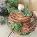 アンティーク雑貨 ビンテージ小物入れ 茶色に花模様 陶器製
