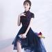 【送料無料】フィッシュテールドレス チャイナ風 刺繍 シースルー 半袖 透け感 ネイビー 紺 結婚式 二次会(B113)