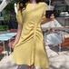 【dress】絶対流行スウィート Vネックボタンデザインデートワントップス2色