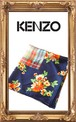 KENZO 花柄×チェック大判スカーフ