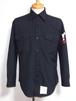 1980's U.S.NAVY CPOシャツ ブラック黒 表記(15 1/2×32) アンカーボタン アメリカ海軍実物