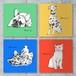 オリジナルオーダーメイドファブリックパネル作成・犬猫、ペットの似顔絵/ラフタッチポップアートイラスト2