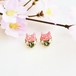 【春限定】◇さくらもち◇桜色の猫とスワロビジューのピアス/イヤリング