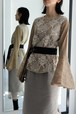 EBONY / Lace Belt Blouse (beige)