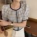 ブラウス 半袖 チェック柄 韓国 ファッション レディース オルチャン 春 夏 パールボタン パイピング デート