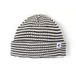 MAGENTA STRIPED LOW BEANIE BLACK WHITE