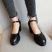 レディース 革靴 ストラップ ラウンドトゥ チャンキーヒール 合皮 革 春秋 脱げない 黒 ブラック 白 ホワイト 大人 かわいい 美脚 韓国