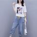 【set】定番シンプルカジュアル肩出しTシャツ+デニムパンツセットアップ M-0494