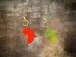 【SALE!】アフリカ大陸キーホルダー・クリア(赤・黄)