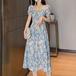 【dress】美人度アップエレガントパフスリーブスリット花柄ワンピース着瘦せ