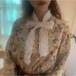 【送料無料】ブラウス 花柄ブラウス ボタニカル クラシカル 前ボタン ボウタイ レトロ フリル 高見え 大人 パーティ 大人可愛い  お洒落  春秋