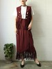 burgundy vest+skirt fringe set up