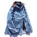 1990's [Woolrich] レザー襟&ネイティヴ柄ブランケットライナー デニムカバーオール アイスブルー 表記(W's L) ウールリッチ