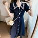 【dress】美人度アップスウィート キャンパスネイビーカラーデートワンピース