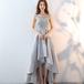 フィッシュテール ドレス スパンコール ロング丈 レース ノースリーブ 上品 結婚式 お呼ばれ パーティー(F024)