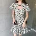 【dress】レディースファッション高級感 パフスリーブ切り替えデートワンピース